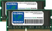 512MB (2 X 256MB) PC100 100MHz 144-PIN Sdram SODIMM Memoria RAM Para Ordenadores Portátiles