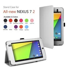 White Folio Leather Case for Google Nexus 7 2 Gen 2013