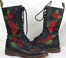 Dr Martens Vonda Black Leather Boots Floral Rose 14 Eye SZ 8 Vamp Goth Rock Punk