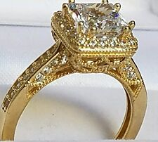 14k real Yellow Gold 1.5 carat halo square Princess Engagement Wedding Ring S567