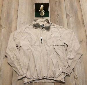 Ashworth Golf Athletic Quarter-Zip Polyester Pullover Medium Beige Minimal Wear
