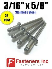 (QTY 25) POP Rivets ALL Stainless Steel 6-10 3/16