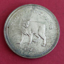 ISLE OF MAN 1975 MANX CAT SILVER 25 PENCE CROWN