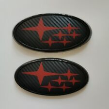 Front & Rear Carbon Fiber Red Badge Emblem Fits W X S I