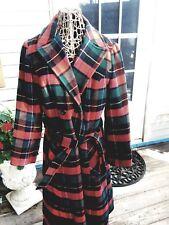 Vintage Pendleton Womens Wool Tartan Plaid Long Coat Red Green Blue Black M