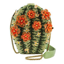 Mary Frances Cactus Flower Western Floral Green Purse Handbag Beaded Bag New