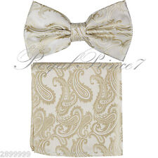 New Mne's BUTTERFLY Design Bow tie And Pocket Square Hanky Set Wedding Beige