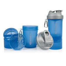SmartShake Blue & Silver Protein Shaker Bottle 400ml with Storage Compartment