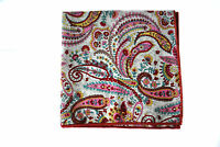 Frederick Thomas white & pink paisley pocket square handkerchief FT2119