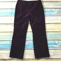 DG2 Womens Pants size 14P 14 Petite Dark Burgundy Cotton Stretch Velvet Jeans