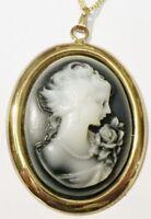 pendentif chaine bijou vintage couleur or camée buste femme relief gris * 5158