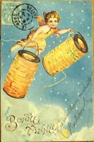 Cherub w/Paper Lanterns in Night Sky - 1904 Embossed Litho New Year Postcard