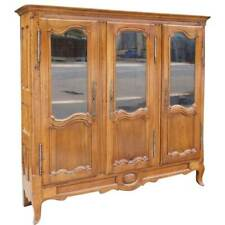 French Louis XV Style Cherrywood Glazed Door Bookcase Display Cabinet