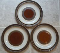 GROUP OF 3 DENBY  POTTERS WHEEL  RUST RED  SALAD  PLATES about 8 1/4 inches