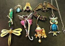 Vintage Jewelry Lot Jelly Belly Bug Bird Butterfly Owl Brooch Necklace Pin