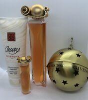 Lot(3) VTG  Givenchy Organza 1.7 oz EDT Spray~.17 oz Mini +Perfumed Body Lotion