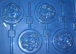 FOUR ROUND SHAPES WITH TWO CUPIDS CHOCOLATE MOULD OR CHOCOLATE LOLLIPOP MOULD