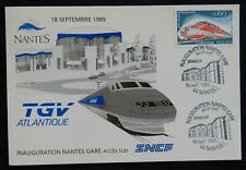 Y94* Carte Postale NANTES / TGV / Cachet Inauguration Gare Sud 1989 (TBE)