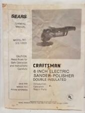 "Sears Craftsman 6"" Electric Sander-Polisher Owner's Manual Model 315.10520 Used"
