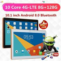 """10.1"""" 4G-LTE Tablet Android 8.0 Bluetooth WiFi PC 8+128G 2 SIM GPS Double Camera"""