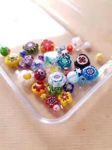 50 x Farbenfrohe MILLEFIORI Glasperlen ♥ zum Basteln/Schmuckherstellung
