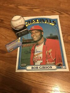 Cardinals BOB GIBSON SIGNED 1972 TOPPS 10x14 Card Lou Brock Signed Baseball RARE