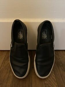 Vans Perforated Black Leather Shoes Women's 9.5 Men's 8