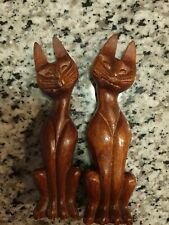 "Pair Of Vintage Hand Carved Wooden Cats 7"" Mid Century Modern Siamese Cats"