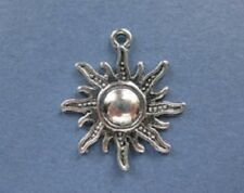 5 SUN STAR FLOWER Tibetan Silver Charms Pendants 28mm x 25mm Druid Wicca Pagan