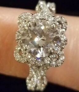 Round Diamond Engagement Ring 2.5 CT White Gold & Sterling Silver Band Size 6.5