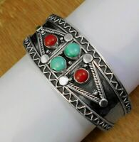 Solid 925 Sterling Silver Turquoise Coral Gemstone Gift For Friend Cuff Bracelet