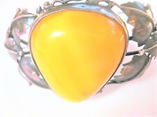 Antique Bracelet Silver 800 with Honey Amber, Real Amber, Butterscotch