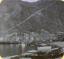 Lake Como and the Village of Como, Italy, Antique Magic Lantern Glass Slide