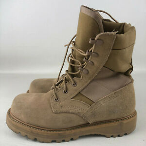 UFCW Vibram Desert Sand Tan Suede Leather Lace Steel Toe Military Boots Mens 5.5