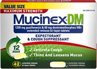 Mucinex DM Maximum Strength 12-Hour Expectorant and Cough Tablets, 42 Count