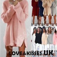 Womens Oversized Pullover Sweater Long Tops Ladies Casual Zip Jumper Mini Dress