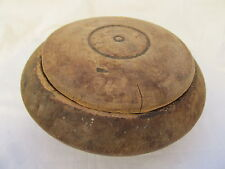 OLD ANTIQUE WOODEN PRIMITIVE HAND CARVED ROUND BOWL CUP WITH LID