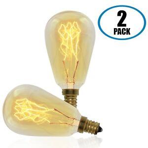 Vintage Retro Edison Bulb, ST45, 40w, Candelabra E12 Base, 2-Pack
