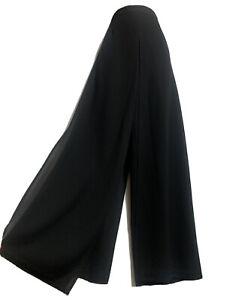 JOSEPH RIBKOFF Trousers Wide Leg UK 10 Jazzy Pants Black Evening Layered Bottoms