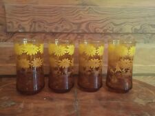 4 Vintage Libbey Ombre Daisy Amber and Yellow Flower 10 Ounce Tumbler Glass