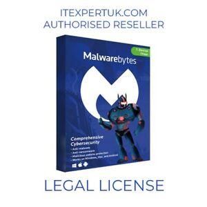 Malwarebytes Premium - 1 Device 1 Year - Genuine by Authorised UK Distributor