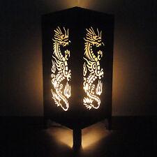 Asian Oriental Japanese Yakuza Dragon Bone Art Bedside Table Lamp Light Shades