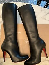 Christian Louboutin Feticha Botta Black Leather Heeled Boots SZ. 37 AMZNG CONDTN