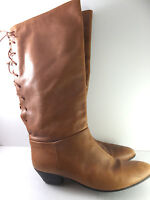 VTG Sudini Leather Lace Up EQUESTRIAN BOOTS Bohemian Knee High Italy Made 11 AA