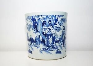 A Large Chinese Blue and White Brushpot
