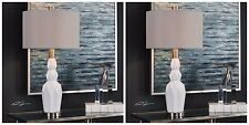 """TWO NEW 31"""" GLOSS WHITE CERAMIC ACCENT TABLE LAMP BEIGE LINEN FABRIC SHADE LIGHT"""