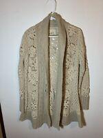 Angel Of The North Anthropologie Cardigan Sweater Womens Medium Ivory Long