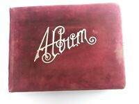 "Antique Victorian Velvet Cabinet Card Photo Album 39 Portraits  4"" x 6"" & 2""x 4"""