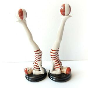 Novelty Art Deco Porcelain Ceramic Bathing Lady Book Ends
