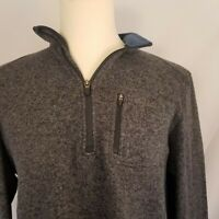 Woolrich Mens Sweater XL Extra Large Pullover 1/4 Zip Gray Mock Collar